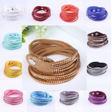 New Fashion Leather Wrap Wristband Cuff Punk Crystal Rhinestone Bracelet Bangle For Women Gift Jewelry
