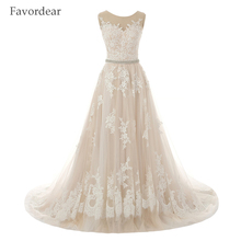 Favordear New Sexy Romantic A Line Lace Vintage Wedding Dress 2017 Robe De Mariage Vestido De Noiva Renda Sheer Back