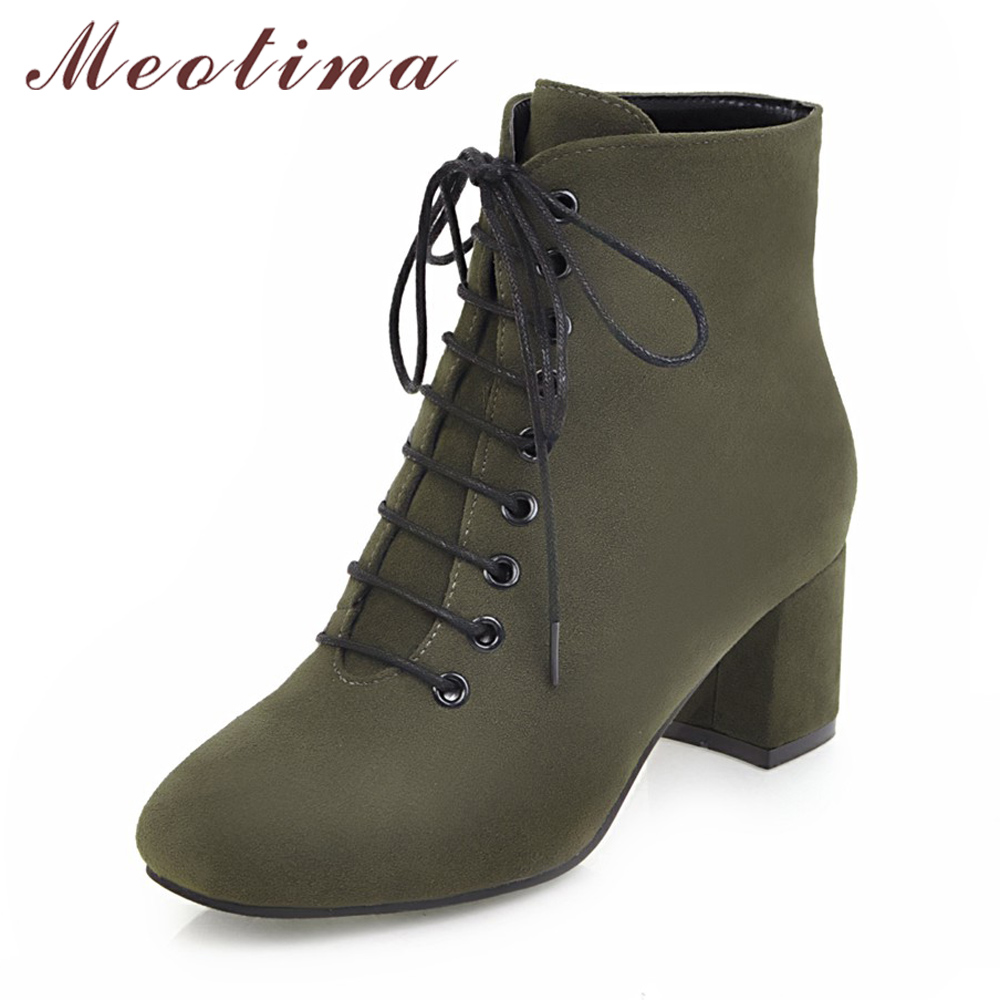 Meotina Women Boots Winter Thick Heel Martin Boots Lace Ankle Boots Female Autumn Shoes Plus Size 34-43 High Heels 2018 Black