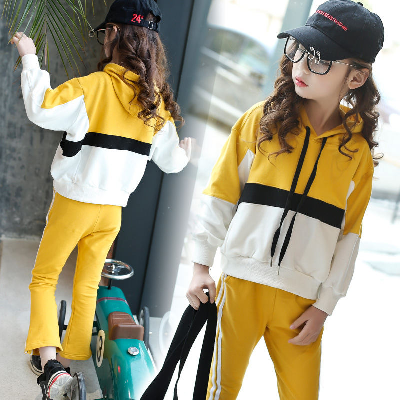 Childrens Sport Suit Female Child Fashion Clothes Girls Spring Casual Set Two Pcs School Wear<br>