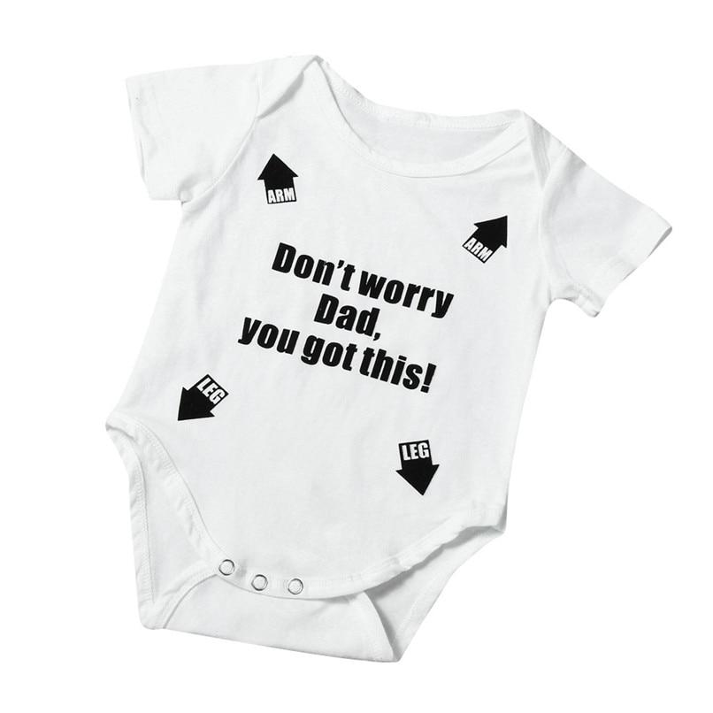 Summer Babys Romper Jumpsuit Toddler Infant Baby Girl Boy Short Sleeve Letter Romper Jumpsuit Baby Boy Girl Clothes M8Y18 (1)
