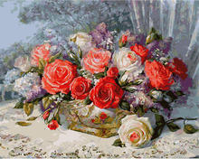 The frameless Pictures Paint By Numbers Digital Oil Painting On Canvas Home Decoration 40x50cm ms8812 flowers magical charm