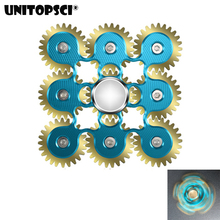 Buy UNITOPSCI 9 Gear Finger Tri-spinner Fidget Steel Hand Spinner Stainless Bearing Educational Toys Spinner Hand Anti Stress Toy for $14.49 in AliExpress store