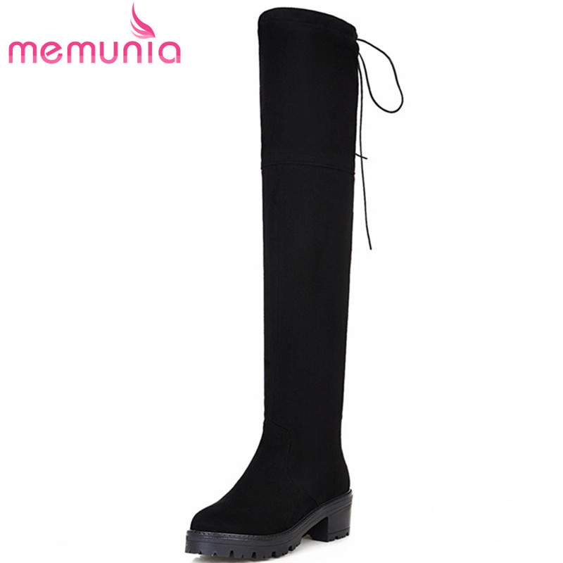 MEMUNIA High heels shoes woman over the knee boots flock solid ribbon platform shoes stretch long boots for women big size 34-43<br>