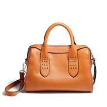 Winter Women handbag female shoulder bags high quality Genuine leather tote bag with Rivet ladies messenger bags Boston Bags(China)