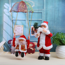 Christmas Santa Claus Plush Doll Xmas Tree Hanging Ornament Decoration Electric Parachute Plush Children Christmas Gift Supplies