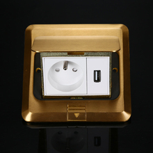 Manufacturer All Copper Gold Panel Pop Up Floor Socket 16A French Standard Power Outlet With 1A USB Charge Port For Mobile Phone