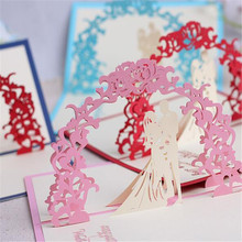 5PCS Sweet handmade decoupage greeting card 3 D Pop up cardsThank you card for weddinginvitations 3d heart card