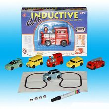 City Vehicles Intelligence Inductive Auto Moving Truck Track Children Toy Truck Car Drawn Rail Toys Mini Magic Pen Drawn(China)