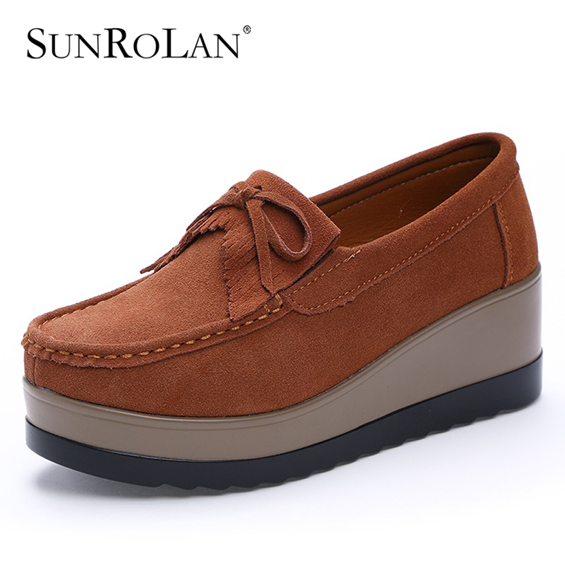 SUNROLAN Spring Women Flat Platform Shoes Fashion Bow Suede Driving Moccasins Slip On Tassel Loafers Women Shape Up Shoes 826<br>