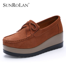 SUNROLAN Spring Women Flat Platform Shoes Fashion Bow Suede Driving Moccasins Slip On Tassel Loafers Women Shape Up Shoes 826(China)