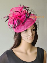 NEW 12 colours  Hot pink BLACK Sinamay Fascinator with feathers&birdcage veil for wedding,Kentucky Derby.FREE SHIPPING