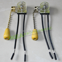 100PCS/LOT Pull switch zipper pull rope switch / ceiling fan lamp bedside lamp table lamp switch / lamp fittings Free Shipping