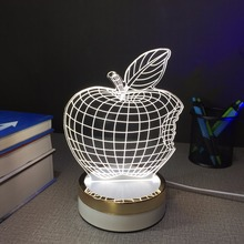 Apple logo USB touch Night light 3d desk Lamps 7 color changing LED table Lamp home decor customized Gift