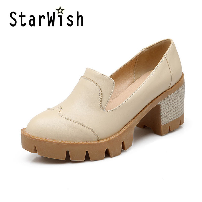 STARWISH Fashion Women Casual Pumps Shoes Sweet Shallow Mouth Slip-on Womens Oxfords Ladies Casual Platform High Heels Shoes<br><br>Aliexpress