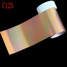 100*4cm 1 Roll Holographic Gold Color Nail Art Stickers Decals Wraps Nail Transfer Foil Manicure Tools Wholesale Retail C125