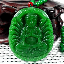 New Green Jades Pendant Carving Thousand Hands Of Guanyin Buddha Women Men's Amulet Jades Jewelry Pendants With Beads Necklace(China)