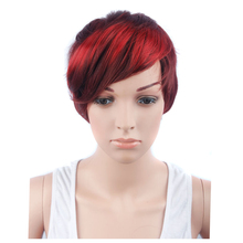 "YXCHERISHAIR 10"" Synthetic Silky Straight Wigs with Pixie Cut for African American Women Perruque Cute Bob Wig Caps High Quality(China)"