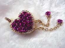 100% real capacityPurple romantic rose flower heart usb flash drive /memory card 8G 16Gusb flash drive S56