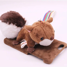 3D Cute Doll Plush Toy Squirrel Holder Cell Phone Cases For iPhone 5 5S SE 6 6S 6Plus Fur Back Cover for iPhone 7 7Plus Housing(China)