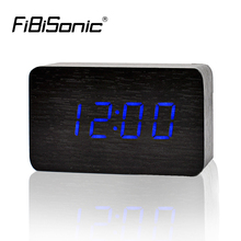 FiBiSonic 2017 New Designer Thermometer LED Digital clock, Sounds Control Alarm Clocks,Desktop Table Clock for Drop Shipping