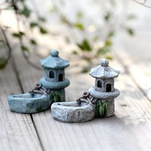 1PC Vintage Micro Landscaping Artificial Pool Tower Miniature Fairy Garden Home Decoration Mini Craft Decor Ornaments LH8s