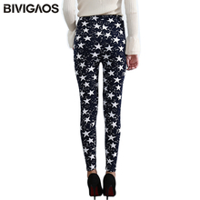 BIVIGAOS Spring Summer Womens Fashion Black Milk Thin Stretch leggings Colored Stars Graffiti Slim Skinny Leggings Pants Female(China)