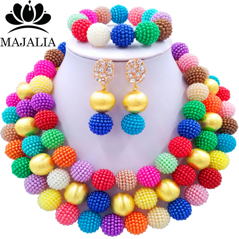 Nigerian Wedding African Beads Jewelry Set Simulated Pearl Necklace New Picture (10)