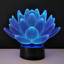 3D optical illusion Night Lights Methacrylate plate Desk Table Lamp Bulb Lotus Flower USB Novelty Bedside lampad Home Deco Lampy(China)