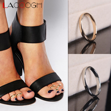 Lacoogh 2017 New Trendy Alloy Foot Ring Gold Color Round Toe Rings for Women Fanel feminino
