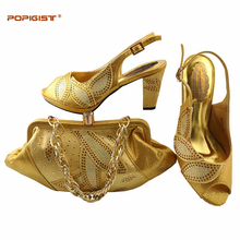 Italian shoes and bags to match shoes with bag set African wedding or parties gold color shoes matching with bag newest design(China)