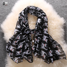 2016 new fashion hot sale little cats printed voile woman scarf long square sun protection shawl ladies women wrap free shipping