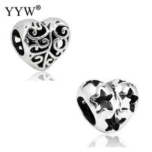 Wholesale Cheap Price 10PCs/Lot European Beads Heart Antique Silver Color Big Hole Charm For European Beads For Women Jewelry(China)