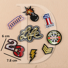 1 PCS Digital 23 parches Embroidered Iron on Patches for Clothing DIY Stripes Clothes Custom Stickers Military Rank Badges @X