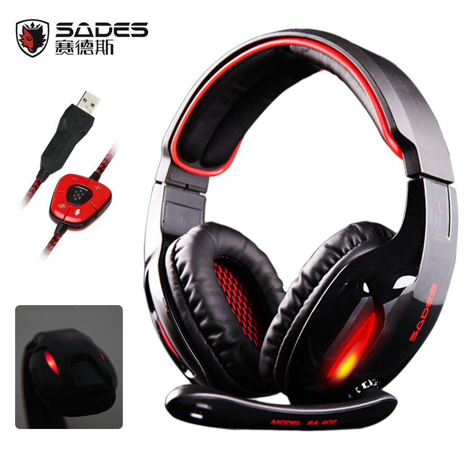 SADES SA902 wired USB 7.1 Surround Sound Gaming Headsets with Microphone LED Light Headphone for PC Laptop Computer game<br>