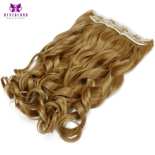 "Neverland 22"" 55cm 5Clips 27# Brown High Temperature Fiber Wavy Hairpiece One Piece Clip In Hair Extensions"