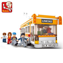 Sluban Trolley Buses 457 Mini Bricks Set Sale City Bus Educational Building Blocks Toys for Children B0332