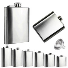 New Qualified 6 Sizes Stainless Steel Pocket Hip Flask Alcohol Whiskey Liquor Screw Cap + Funnel  Levert Dropship dig6427