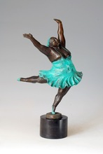 Classical Bronze dancing  fat woman Statue collectible Gifts Lose weight dancer figurine Gym Decoration