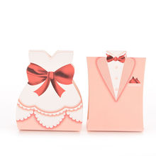 New 100 Pcs Wedding Favor Bride Groom Bridal Gift Cases Groom Tuxedo Dress Gown Ribbon Candy Box for Marriage