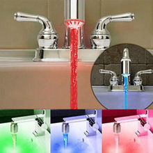 2015 New Fashion LED Water Faucet Stream Light 3 Colors Changing Glow Shower Tap Head Kitchen Temperature Sensor hot selling