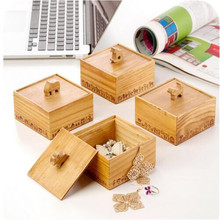 PINJEAS Vintage Animal Wooden 3D Storage Boxes Jewelry Box Small Square Desktop Decorations Home Decor Organizer Case For Office