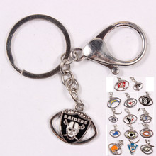 12pcs/lot  14 Teams Logos Keychain Raiders Eagles Dolphins Key Chains Alloy Pendant Car Key Rings For Women Men Fans