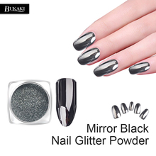 BUKAKI 1g/Bottle Black Mirror Dazzling Nail Glitter Metal Nail Art Chrome Powder Shiny Ultra Thin Pigment Dust Nail Decoration(China)