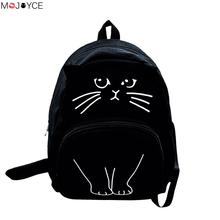 Women Canvas Backpack School Bags Cute Cat Printing Backpack For Teenagers Ladies Casual Lovely Rucksack Bookbags(China)