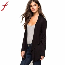 Fashion Autumn Winter Black jacket women coat Long Sleeve Jacket Femme Irregular Cardigan with High Quality #LYW(China)