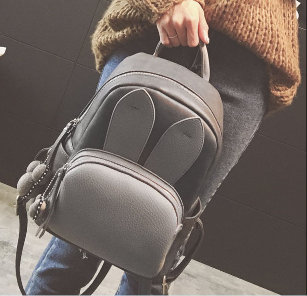 Fashion Leather Backpacks Casual Cute School Backpack Rabbit Ear Shoulder Cute Girls Backpacks Female Backpack<br><br>Aliexpress