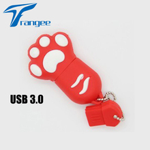 Trangee Cat Paw Red USB 3.0 128GB 4GB 8GB 16GB 32GB USB flash drives pen drive super speed usb memory stick pendrive