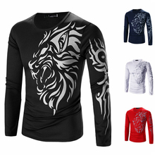 Tattoo Printed T Shirt Men Long Sleeve New Arrival Mens Brand Clothing Casual Slim Fit O-neck Cotton Tshirt Tees