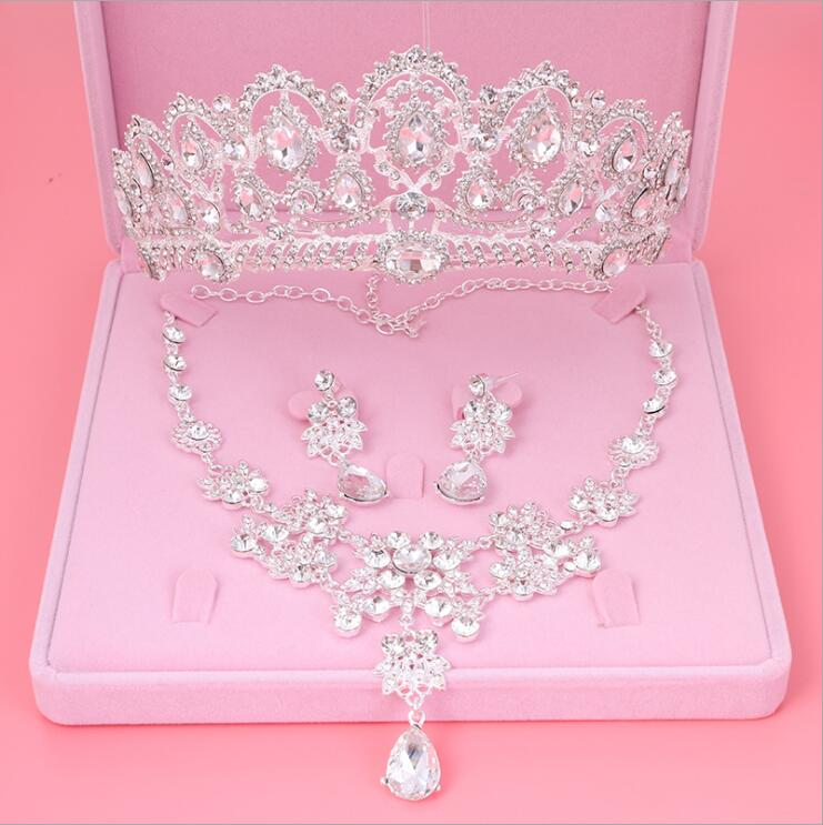 Womens Crystal Pearl Jewelry Hair Crown Headpiece Necklace Pendant Earrings Sets (4)